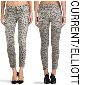 CURRENT/ELLIOTT The Stiletto Grey Leopard Jeans